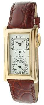 Peugeot Watches Men's Vintage Leather Strap Watch - Brown