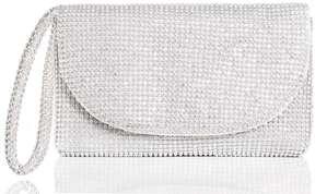 *Quiz Silver Diamante Clutch Bag