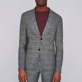 River Island Mens Brown check super skinny suit jacket