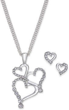 Charter Club Silver-Tone Pave Heart Pendant Necklace and Stud Earrings Set, Created for Macy's