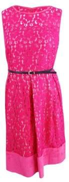 Calvin Klein Women's Plus Belted Sleeveless Lace Flare Dress (20W, Watermelon)