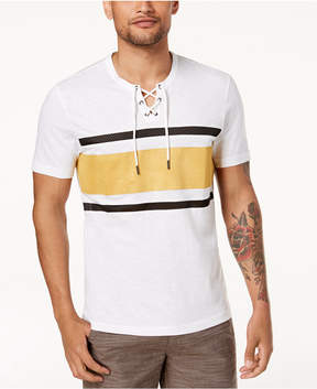 INC International Concepts I.n.c. Men's Drawstring Striped T-Shirt, Created for Macys