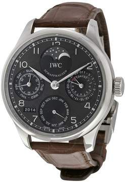 IWC Portuguese Automatic Grey Dial 18kt White Gold Brown Leather Men's Watch