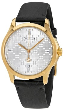 Gucci G-Timeless Silver Dial Black Leather Men's Watch