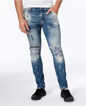 G Star Men's Slim-Fit Paint-Splatter Moto Jeans