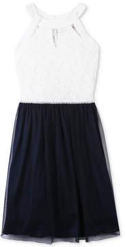Speechless Embellished Lace-Bodice Dress, Big Girls
