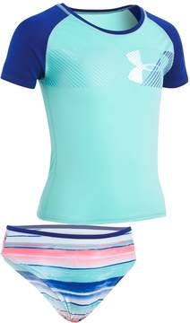 Under Armour Girls 7-16 Hybrid Logo Rashguard & Bottoms Swimsuit Set
