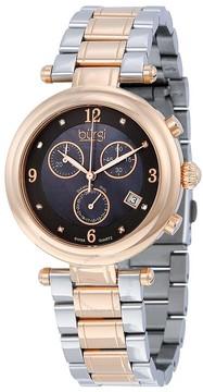 Burgi Black Dial Rose Gold-tone Ladies Watch