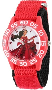 Disney Elena of Avalor, Elena Girls' Red Plastic Time Teacher Watch, Red Hook and Loop Nylon Strap with Black Backing