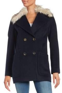 Eliza J Faux Fur Trimmed Walking Coat