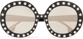 Alice + Olivia Alice Olivia - Bel Air Swarovski Pearl-embellished Round-frame Acetate Sunglasses - Black