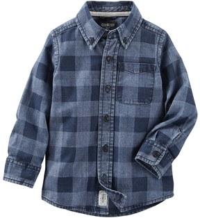 Osh Kosh Boys 4-8 Chambray Checkered Button-Down Long Sleeve Shirt