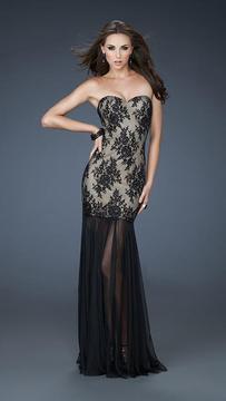 La Femme Strapless Lace Evening Dress 17713