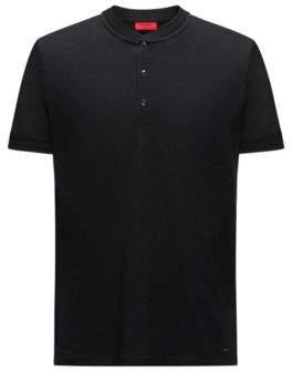 HUGO Boss Cotton Henley Shirt Denots XS Black