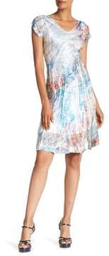 Komarov V-Neck Cap Sleeve Lace Trim Print Dress