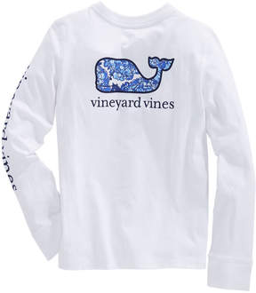 Vineyard Vines Girls Long-Sleeve Classic Hydrangea Whale Fill Tee