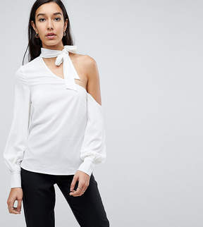 Fashion Union Tall Cold Shoulder Blouse With Tie Neck Detail