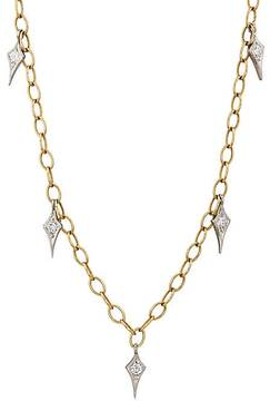 Cathy Waterman Women's Gold & Diamond Fringe Tiny Lacy Chain Necklace