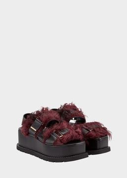 Versace Shearling Platform Sandals