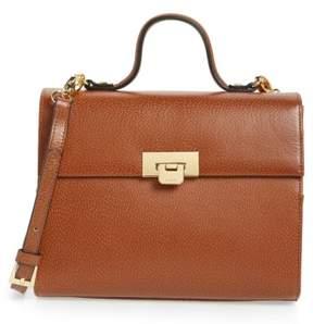 Lodis Medium Bree Leather Top Handle Satchel - Brown