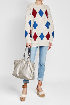 Isabel Marant Bagya Leather Tote with Embroidered Handles