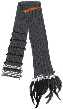 Prada feather trim chunky scarf