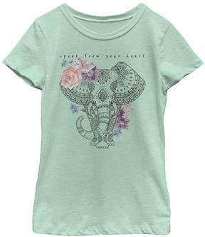 Fifth Sun Mint Ornate Elephant Tee - Girls