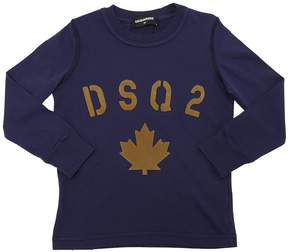 DSQUARED2 Flocked Print Cotton Jersey T-Shirt