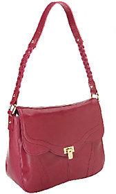 As Is B. Makowsky Karlie Glazed Leather Shoulder Bag