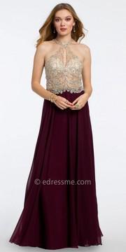 Camille La Vie Chiffon Open Back Prom Dress