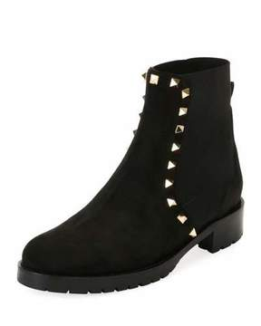Valentino Garavani Suede Studded Combat Ankle Boot, Black