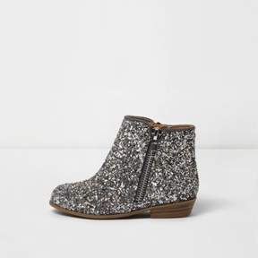 River Island Mini girls silver glitter western ankle boots