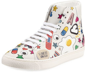 Anya Hindmarch Stickers Leather High-Top Sneaker, White