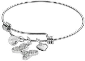 Disney Disney's Minnie Mouse Crystal Bow & Heart Charm Bangle Bracelet