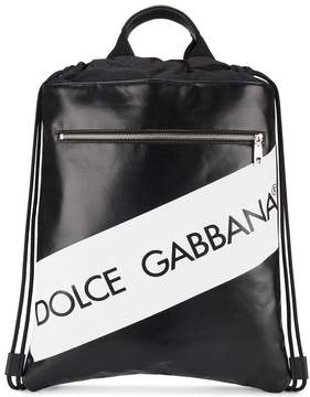 Dolce & Gabbana Leather backpack with logo and drawstring