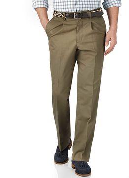 Charles Tyrwhitt Beige Classic Fit Single Pleat Cotton Chino Pants Size W32 L30