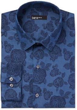 Bar III Men's Slim-Fit Denim Rose Print Dress Shirt, Created for Macy's
