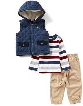 Little Me Baby Boys 12-24 Months Quilted Vest, Striped Long-Sleeve Tee, & Pants 3-Piece Set