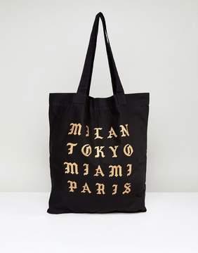 Asos Tote Bag In Black With City Slogan Print