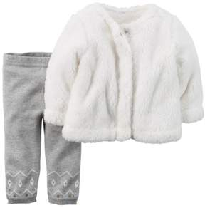 Carter's Baby Clothing Outfit Girls 2-Piece Sherpa Top & Sweater-Knit Pant Set Ivory