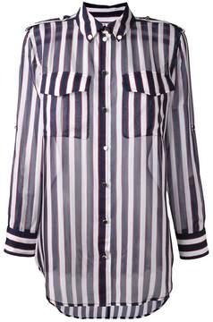 Equipment striped sheer button-down shirt