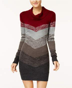 BCX Juniors' Chevron Colorblocked Cowl-Neck Sweater Dress