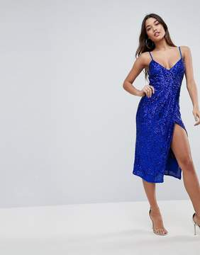 Blue Sequin Cami Dress