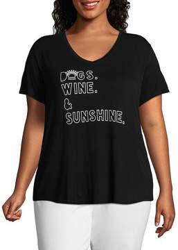 Boutique + + Short Sleeve V Neck Dogs. Wine & Sunshine. Graphic T-Shirt - Plus