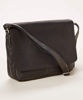 Le Donne Black Fold-Over Leather Messenger Bag