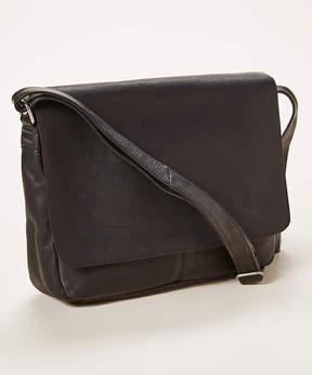 Le Donne Black Fold-Over Leather Messenger Bag