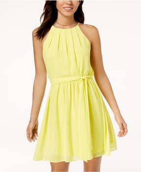 BCX Juniors' Pintucked Chiffon A-Line Dress