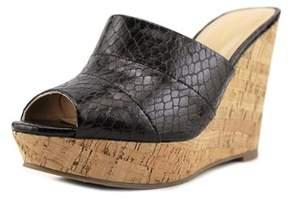 Thalia Sodi Jadey Women Open Toe Synthetic Black Wedge Sandal.