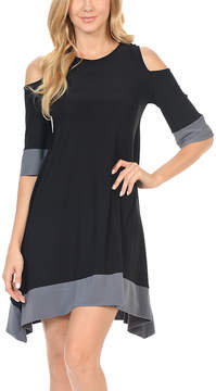 Celeste Black & Gray Cutout A-Line Dress - Women