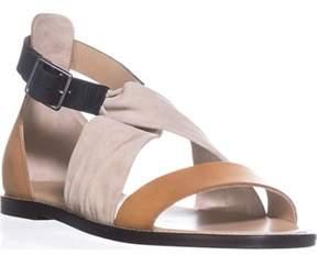 Belstaff Tallon Ankle Strap Flat Sandals, Cream/tan/black.